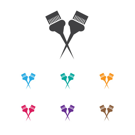 Vector Illustration Of Hairstylist Symbol On Painting Tools Icon. Premium Quality Isolated Besom Element In Trendy Flat Style.