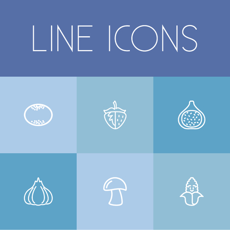fall leaves: Set Of 6 Editable Kitchenware Icons. Includes Symbols Such As Fig, Grapefruit, Berry And More. Can Be Used For Web, Mobile, UI And Infographic Design.