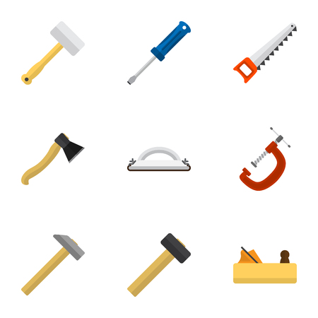 Set Of 9 Editable Instrument Icons. Includes Symbols Such As Hammer, Axe, Turn-Screw And More. Can Be Used For Web, Mobile, UI And Infographic Design. Illustration