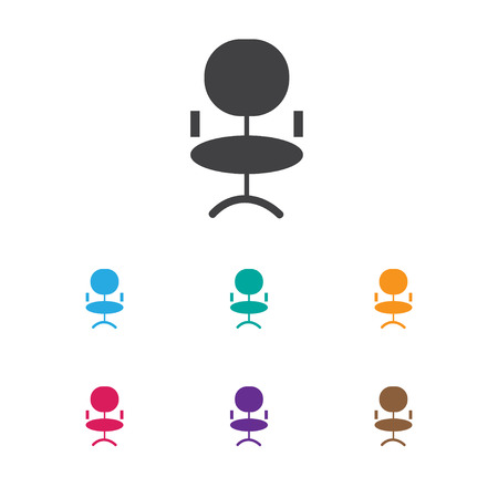 Vector Illustration Of Business Symbol On Office Chair Icon. Premium Quality Isolated Ergonomic Seat Element In Trendy Flat Style.