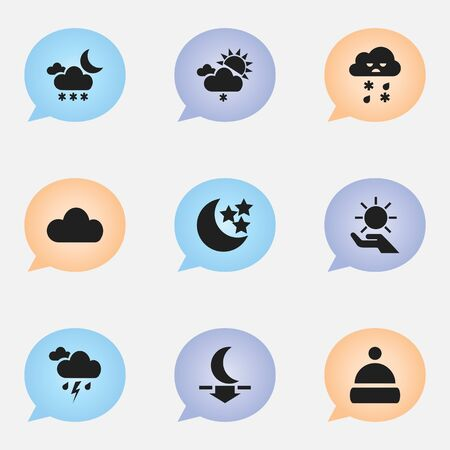 Set Of 9 Editable Weather Icons. Includes Symbols Such As Moonlight, Cap, Solar In The Palm And More. Can Be Used For Web, Mobile, UI And Infographic Design. Illustration