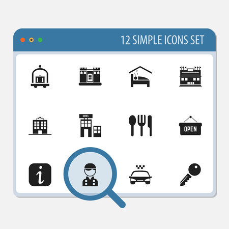12 編集プラザ アイコンのセットです。情報サイン、レストラン、アクセスのブロックを解除などのシンボルが含まれます。Web、モバイル、UI、イン
