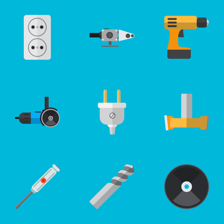 Set Of 9 Editable Electric Icons. Includes Symbols Such As Auger, Socket, Blowpipe And More. Can Be Used For Web, Mobile, UI And Infographic Design.