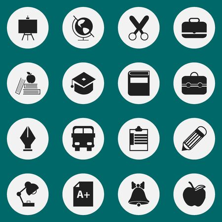 nib: Set Of 16 Editable School Icons. Includes Symbols Such As Portfolio , Nib, Painters Stand. Can Be Used For Web, Mobile, UI And Infographic Design.