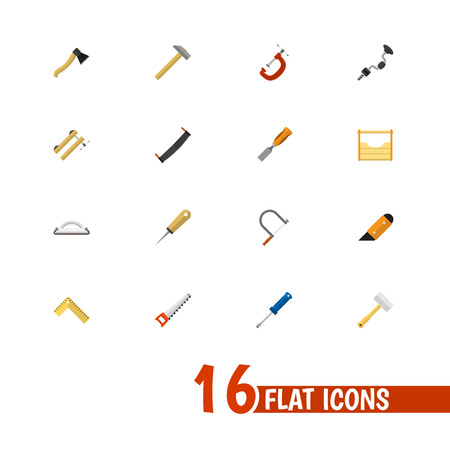 Set Of 16 Editable Tools Icons. Includes Symbols Such As Turn-Screw, Knife, Tool And More. Can Be Used For Web, Mobile, UI And Infographic Design.