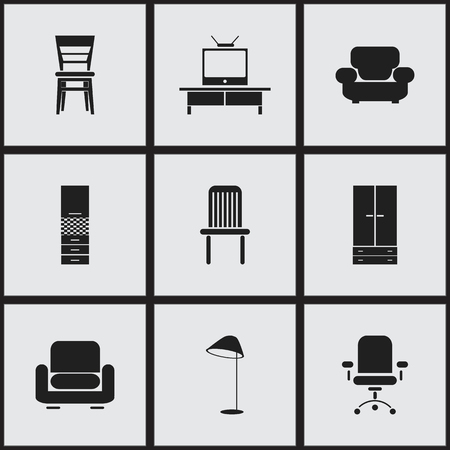 Set Of 9 Editable Furnishings Icons. Includes Symbols Such As Recliner, Material Cupboard, Seat And More. Can Be Used For Web, Mobile, UI And Infographic Design. Illustration