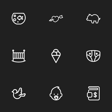 Set Of 9 Editable Folks Icons. Includes Symbols Such As Bedstead, Sparrow, Fish Tank And More. Can Be Used For Web, Mobile, UI And Infographic Design.