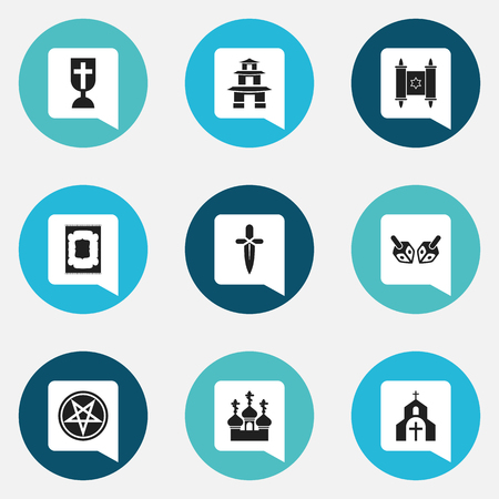 Set Of 9 Editable Religion Icons. Includes Symbols Such As Religious Sewn, Church, Baphomet Symbol And More. Can Be Used For Web, Mobile, UI And Infographic Design.