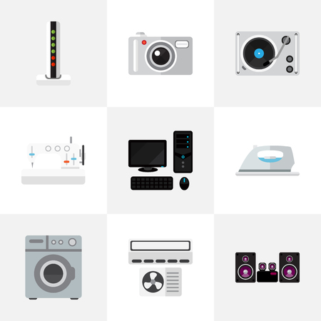 sewing machines: Set Of 9 Editable Home Icons. Includes Symbols Such As Sewing Machine, Appliance, Turntable And More. Can Be Used For Web, Mobile, UI And Infographic Design.