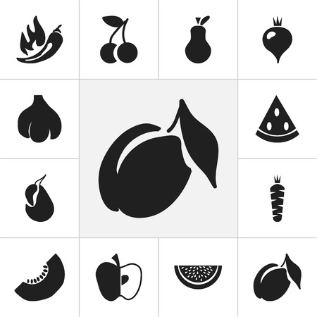 Set Of 12 Editable Berry Icons. Includes Symbols Such As Muskmelon, Apricot, Melon Slice And More