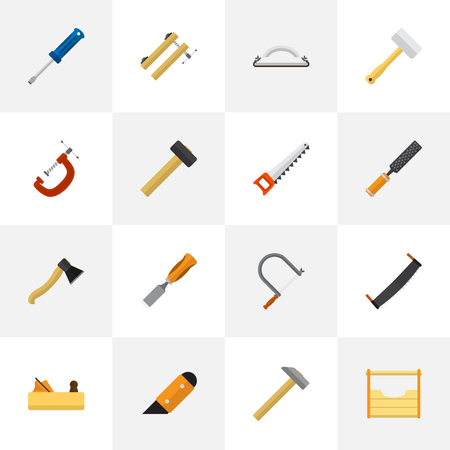Set Of 16 Editable Apparatus Flat Icons. Includes Symbols Such As Turn-Screw, Saw, Emery Paper And More