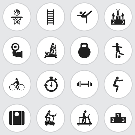 Set Of 16 Editable Fitness Icons. Includes Symbols Such As Balance, Instruction Male, Competition And More Vettoriali