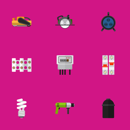 Set Of 9 Editable Instruments Flat Icons. Includes Symbols Such As Receptacle, Sandblast, Borer