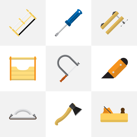 Set Of 9 Editable Instrument Flat Icons. Includes Symbols Such As Axe, Handsaw, Hacksaw