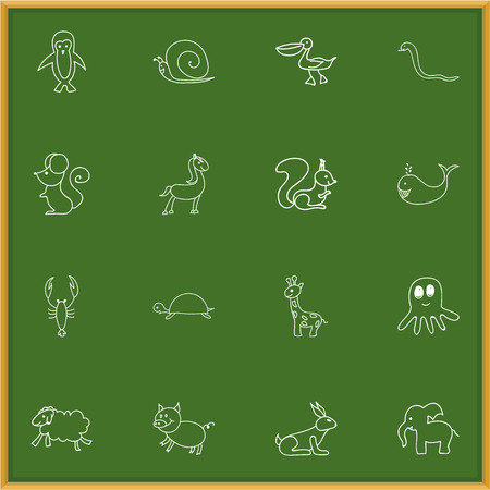 smiley: Set Of 16 Editable Animal Doodles. Includes Symbols Such As Ewe, Pony, Tortoise And More