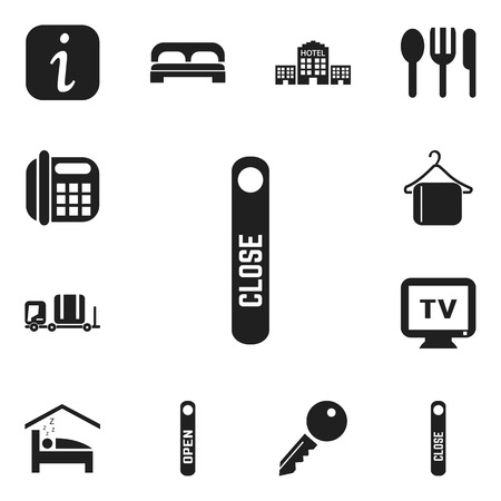tour operator: Set Of 12 Editable Hotel Icons. Includes Symbols Such As Monitor, Information Sign, Townhouse And More