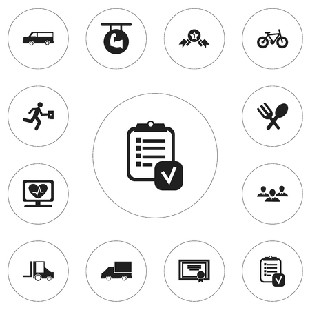heart disease: Set Of 12 Editable Mixed Icons. Includes Symbols Such As Businessman, Van, Cutlery And More Illustration