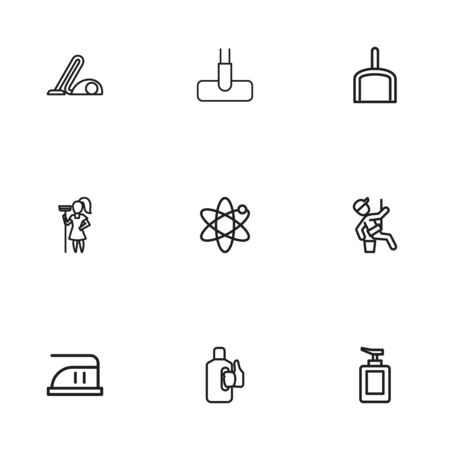 bleach: Set Of 9 Editable Hygiene Outline Icons. Includes Symbols Such As Bleach, Sweeper, Hoover And More
