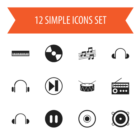 earpiece: Set Of 12 Editable Audio Icons. Includes Symbols Such As Musical Sign, Disc, Cd And More Illustration