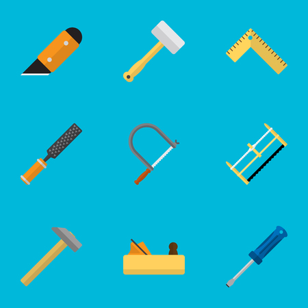 Set Of 9 Editable Tools Flat Icons. Includes Symbols Such As Knife, Turn-Screw, Tool And More