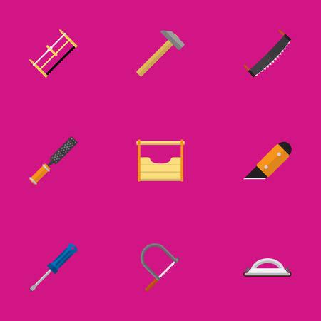 Set Of 9 Editable Tools Flat Icons. Includes Symbols Such As Saw, Handsaw, Instruments