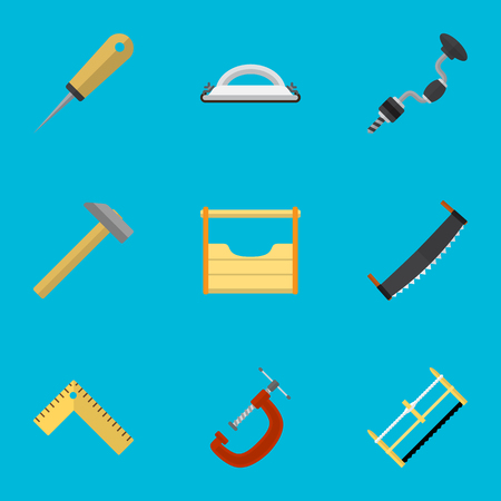 Set Of 9 Editable Tools Flat Icons. Includes Symbols Such As Boer, Bodkin, Meter And More