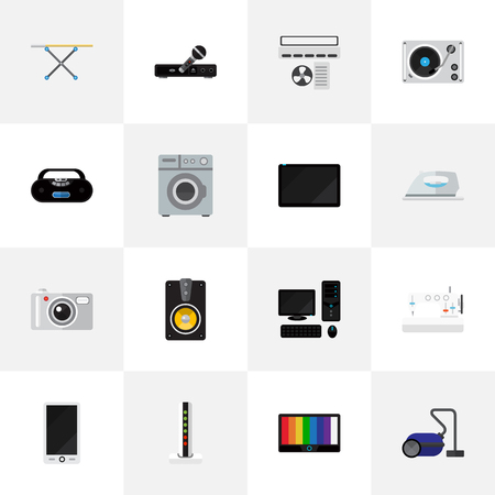 palmtop: Set Of 16 Editable Home Flat Icons. Includes Symbols Such As Palmtop, Cassette Player, Sewing Machine And More