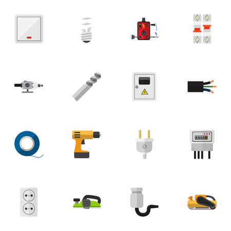 Set Of 16 Editable Electrical Flat Icons. Includes Symbols Such As Lightbulb, Sandblast, Blowpipe