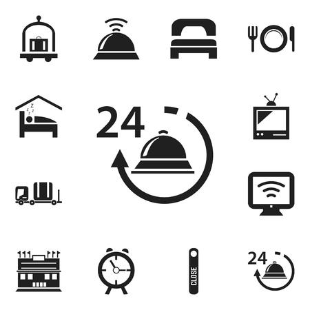 Set van 12 bewerkbare hotel iconen. Bevat symbolen zoals Service Bell, Alarm, Trolley en meer