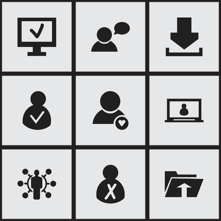 Set Of 9 Editable Network Icons. Includes Symbols Such As Access Allowed, Computer, Blocked Person And More Stock Vector - 82285796