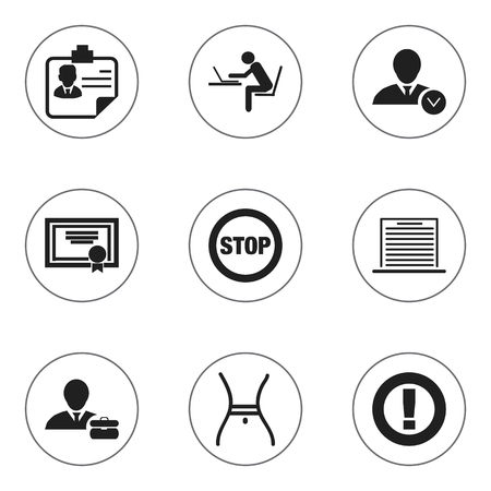heart monitor: Set Of 9 Editable Complex Icons. Includes Symbols Such As Work Man, Identification, Caution And More Illustration