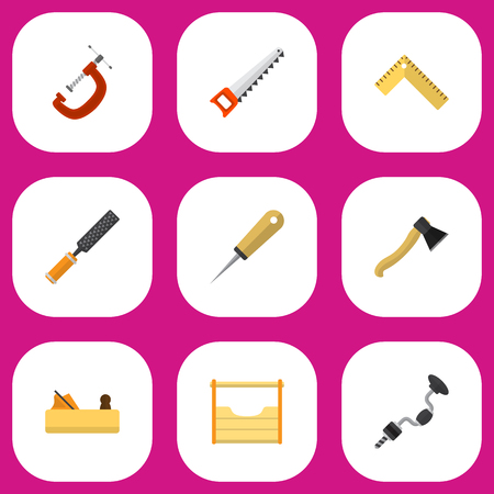 awl: Set Of 9 Editable Tools Flat Icons. Includes Symbols Such As Clinch, Bodkin, Instruments And More