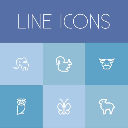 Set Of 6 Editable Animal Outline Icons. Includes Symbols Such As Butterfly, Elephant, Calf And More
