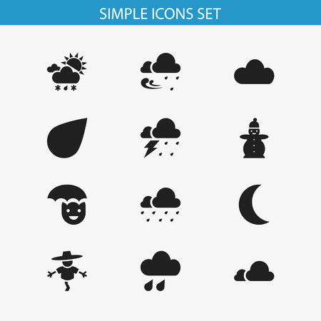 barrage: Set Of 12 Editable Weather Icons. Includes Symbols Such As Tornado, Precipitation, Hail And More