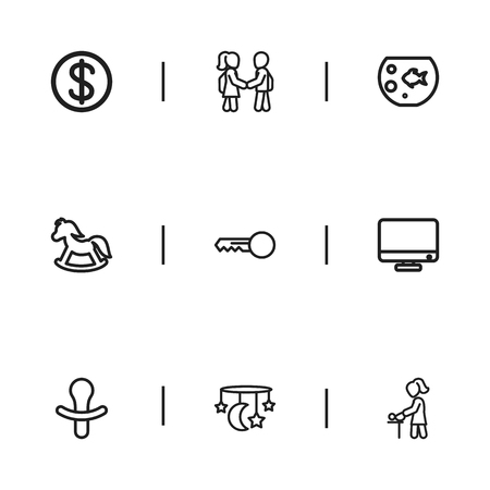 Set Of 9 Editable Folks Outline Icons. Includes Symbols Such As Clues, Baby Mobile, Monitor And More