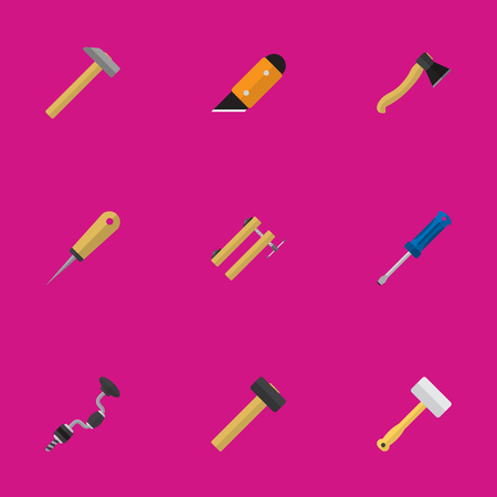awl: Set Of 9 Editable Equipment Flat Icons. Includes Symbols Such As Malleus, Hammer, Axe And More Illustration