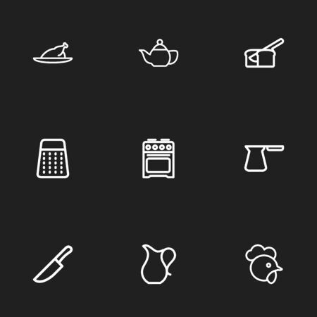 Set Of 9 Editable Meal Outline Icons. Includes Symbols Such As Rasp, Food Cutter, Cezve And More