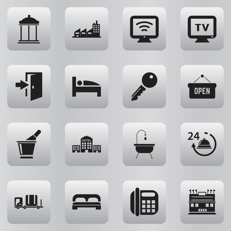 plaza: Set Of 16 Editable Plaza Icons. Includes Symbols Such As Opened Placard, Entrance, Wireless Tv And More