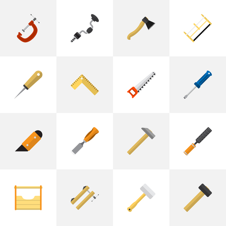 Set Of 16 Editable Apparatus Flat Icons. Includes Symbols Such As Tool, Bodkin, Bit And More