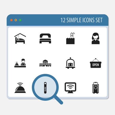 Set Of 12 Editable Hotel Icons. Includes Symbols Such As Trolley, Pool, Wireless Tv And More Ilustração