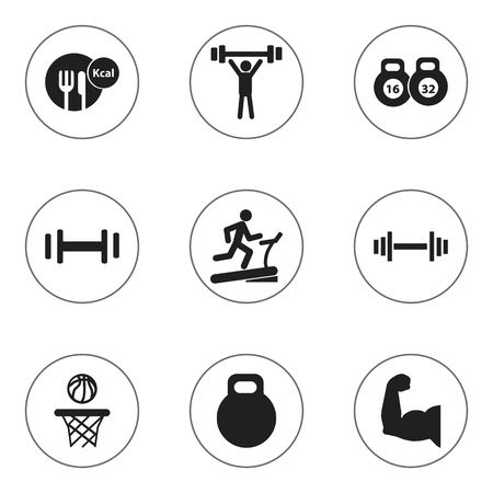heaviness: Set Of 9 Editable Healthy Icons. Includes Symbols Such As Racetrack Training, Healthy Food, Biceps And More. Can Be Used For Web, Mobile, UI And Infographic Design.
