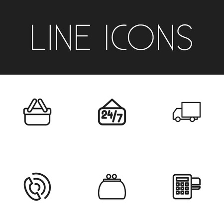 reader: Set Of 6 Editable Shopping Outline Icons. Includes Symbols Such As Money Purse, Card Reader, Call And More