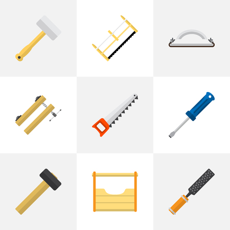 Set Of 9 Editable Instrument Flat Icons. Includes Symbols Such As Nag, Instruments, Emery Paper And More. Can Be Used For Web, Mobile, UI And Infographic Design.