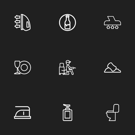 smoothing: Set Of 9 Editable Cleaning Outline Icons. Includes Symbols Such As Vacuuming, Vacuum Cleaner, Lavatory And More. Can Be Used For Web, Mobile, UI And Infographic Design.