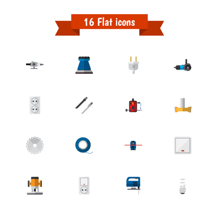 Set Of 16 Editable Electric Flat Icons. Includes Symbols Such As Soldering, Orifice, Jack And More. Can Be Used For Web, Mobile, UI And Infographic Design.