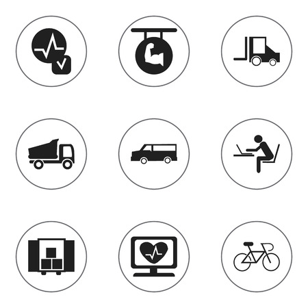 heart monitor: Set Of 9 Editable Mixed Icons. Includes Symbols Such As Auto, Velocipede, Camion And More. Can Be Used For Web, Mobile, UI And Infographic Design.