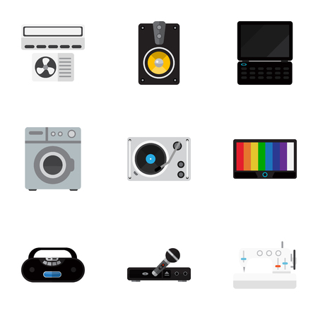 electronic music: Set Of 9 Editable Technology Flat Icons. Includes Symbols Such As Laundromat, Megaphone, Notebook And More. Can Be Used For Web, Mobile, UI And Infographic Design. Illustration