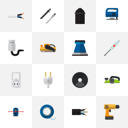 Set Of 16 Editable Instruments Flat Icons. Includes Symbols Such As Jack , Sandblast, Outlet. Can Be Used For Web, Mobile, UI And Infographic Design.