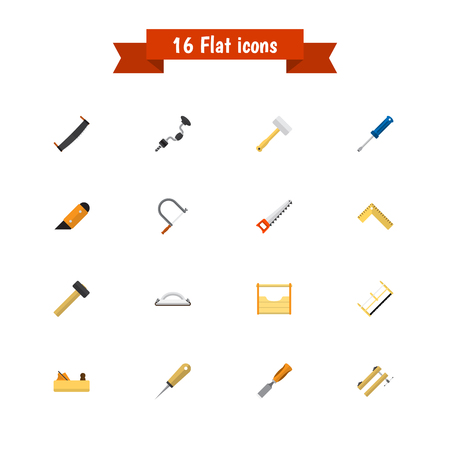 Set Of 16 Editable Instrument Flat Icons. Includes Symbols Such As Tool, Turn-Screw, Bit And More. Can Be Used For Web, Mobile, UI And Infographic Design.