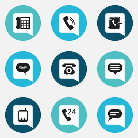 Set Of 9 Editable Gadget Icons. Includes Symbols Such As Talking, Message, Comment And More. Can Be Used For Web, Mobile, UI And Infographic Design.